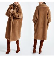 Wholesale Double Breasted Coat Camel - 2017 winter Oversize camel fur icon Coat Women Double-breasted two-button welt pockets long jacket female Fluffy outerwear