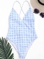 traje de baño rosa una pieza al por mayor-Mujeres sexy Bikini Traje de baño de una pieza Traje de baño de verano Cuadrícula Azul Rosa Ropa de playa Empujar hacia arriba Acolchado Trajes de baño Tanga Monokini