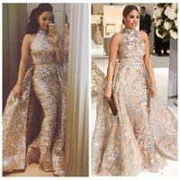 Wholesale short bling dresses - Yousef Aljasmi 2018 Bling Bling Lace Evening Dresses Dubai Arabic Sequins Prom Gowns Overskirt Detachable Train Champagne Party Gowns