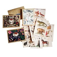 Wholesale greeting card packs - 4 Pack lot New Arrival Vintage Animal Postcard High Quality Natural Life's Greeting & Invitation Card Wholesale