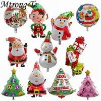 ingrosso allegri palloncini di natale-50pcs Merry Christmas Balloons Foil Elio Palloncino gonfiabile Decorazione natalizia Classico Giocattoli per bambini Babbo Natale Regali di Natale