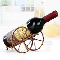 dövme demir dekor toptan satış-Antik yollar geri küçük kale şarap rafı Pratik ferforje galvanik şarap tutucu Şarap şişeleri dekor ekran raf