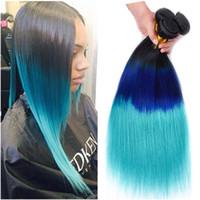 paquetes de pelo azul virgen ombre al por mayor-Tres tonos 1B / azul / Teal Ombre paquetes de armadura brasileña del cabello humano 3 piezas sedosos remy Virgen Remy Hair Bundle Deals Ombre tramas dobles