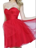 Wholesale Aline Gowns - Elegant aline short party Dresses Fashion Red Ball Gown knee length tulle Special Occasion Dresses For juniors 2018 New
