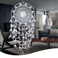adornos de salón moderno al por mayor-Decoraciones de jardín modernas Grandes plumas de sueño hechas a mano blancas Decoración de colgar en la pared Jardín de la casa Ornamento de la sala Atrapasueños