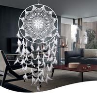 ingrosso grandi decorazioni da giardino-Large White Handmade Dream Catcher con piume Decorazioni da parete Decorazioni per la casa Living Room Ornament Dreamcatcher