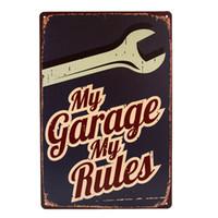 eski metal dekor toptan satış-Benim Garaj Benim Kuralları Retro / Vintage Metal / Tabela poster Man Gaz Mağarası için gaz Yağı / Garaj shabby chic duvar sticker ev dekor