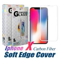 iphone ekran koruyucusu tasarımları toptan satış-Karbon Fiber Temperli Cam Yumuşak Kenar Tasarım 9 H 0.33mm Ekran Koruyucu 3D Tam Kapak Filmi iPhone X 6 7 8 Artı Perakende Paketi Ile