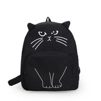 ingrosso zaini donne di stile di gusto squisito di moda-2018 Cartoon Cat Fashion Women Zaini Nuovo stile Preppy Casual School Bags Canvas Back Pack Carino divertente stampa ragazze zaino