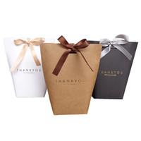 gracias a la boda bolsas al por mayor-Exquisito Merci Box Francés Gracias Papel Doblado Cajas de regalo Gran tamaño Sin cinta Regalos Bolsa de empaque de dulces Decoraciones de boda 0 5jx UU