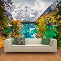 Wholesale lake mural - Customized 3D Wallpapers Modern Fashion Nature Scenery Landscape Snow Mountains Pine Trees Lakes Wall Mural Backdrop Decoration YBZ073