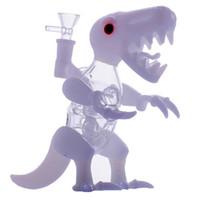 ingrosso dinosauri d'acqua-Vetro Dino Rig Dab Rigs Artigianato Bong Tubi per l'acqua in vetro 14.4 MM Maschio a forma di Dinosauro Vetro bianco Bubbler caldo Vendite