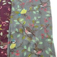 kuş baskısı şallar toptan satış-ÇIFTI BANA Kadın Viskon Eşarp Güzel Hayvan Kuş On Ağaç Desen Şal Baskı Vual Wrap Yenidoğan Atkılar Sonbahar Kış Başörtüsü Sjaal