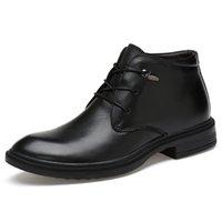 sola de borracha botas de couro genuíno venda por atacado-Primavera / inverno Botas de Couro Genuíno de Alta Qualidade Homens Sapatos de Sola De Borracha Salto Curto Altura Crescente Botas