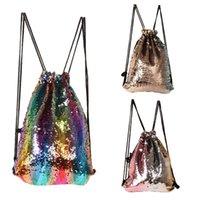 renkli çocuklar sırt çantaları toptan satış-Çocuk Denizkızı Sequins çizim çanta renkli çocuklar payetli sırt çantası adam kadın aile dışında spor omuz çantaları çocuklar hediye