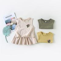 ingrosso ragazza della corea impostata-Nuovo stile della Corea Estate Baby Girl vestiti Cactus T Shirt Top + Tutu Gonna 2PCS Outfits Fashion Toddler Kids Abbigliamento Set
