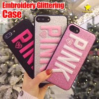 Wholesale Glitter Iphone Phone Cases - 2018 New Design 3D Embroidery Love Pink Case Glitter Phone Case for iPhone X iPhone 8 Plus