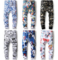 Wholesale Tights For Men Fashion - New Fashion 3D Three-dimensional Hand-painted Designer Pants Skinny Male Nightclub Tights Straight Younth Casual Trousers for Men