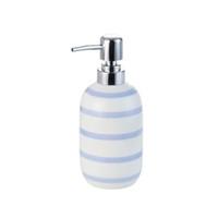 blaue weiße keramikzubehör großhandel-Umweltfreundliche europa keramik zahnbürstenhalter spender seifenschale flasche blau weiß gestreift kreative paar badzubehör sets