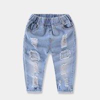 marke hose großen jungen großhandel-2018 Jungen Zerrissene Jeans Mode Marke Großes Loch Jeans Elastische Taille Feste Denim Dünne Baby Jungen Jeans Marke Neue Baby Denim Hosen