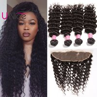 ingrosso cuticle remy hair-Unice capelli malesi Deep Wave Bundles con frontale vergine cuticola allineato frontale capelli umani con Bundle Remy Bundles Deep Wave e frontale