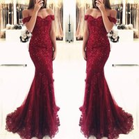 Wholesale Winter Wear China - Burgundy Wine Red Prom Dresses 2018 Capped Sleeve Lace Appliques Sweep Train Tulle Formal Wear Gowns Women Evening Party Dress China