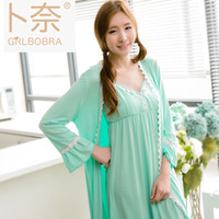 Wholesale Green Printing Services - bamboo fiber two-piece home service Japan and South Korea Ms. sexy cup V-neck pajamas