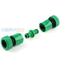 Wholesale hose coupler online - 2pcs Plastic Water Pipe Tube Hose Coupler Plumbing Connector Garden Wash Coupler