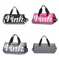 Wholesale Striped Beach Bags Wholesale - PINK Letter Handbags Large Capacity Travel Duffle Shoulder Bags Striped Waterproof Beach Bag Kids Handbag 30pcs OOA4893