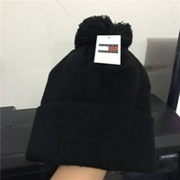Wholesale Silk Cashmere Knitting Yarn - Wholesale-New Autumn Winter Hats for Men women Unisex Knitted Beanie Wool Hat skullies Knit Bonnet brand Beanie Gorro tommy Thicken Warm Cap