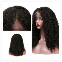 Wholesale Nature Babies - 100 percent virgin human hair wigs kinky curly lace front wigs for black woman blenched knots nature hairline and baby hair free shipping
