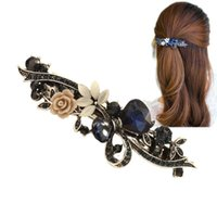Wholesale hair clips resins - 2018 New Luxury Crystal Hair Clip Opal Leaf Resin Flower Headwear Jewelry OL For Women Girls Elegant Barrettes Hair Accessories