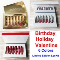 Wholesale mini lip online - NEW Holiday Edition lip gloss Birthday lipstick Mini Kit Colors matte Liquid lipstick Makeup lip gloss valentine edition lipgoss Cosmetics