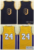 Wholesale army sign - 2018 New LAL City Basketball Jersey Men Women Youth,Signed Retro Kids 8 24 KB Black Mamba Retired Yellow