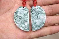 Wholesale dragon phoenix jade pendant - Beautiful natural (blue field) color jade, hand-carved - exquisite dragon and phoenix match, (lovers' money). Talisman necklace pendant.