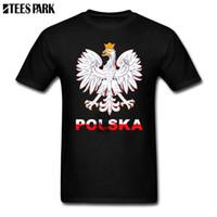 печать цен оптовых-Печать футболка Польска польский герб Белый орел футболки Ropa де Hombre 2018 низкая цена человек Фильм рубашки черный