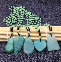 jadeblatt anhänger großhandel-CELADON JADE Halskette Blatt Anhänger Geschenk Erdnuss grüne Jade Pullover Kette kleine frische Dekorationen Geburtstagsgeschenk