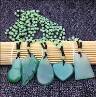 ingrosso le foglie della collana di giada-CELADON JADE NECKLACE Leaf Pendant Gift arachidi verde catena di giada maglione piccole decorazioni fresche regalo di compleanno
