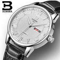 роскошные ультратонкие часы оптовых-Швейцария мужские часы люксовый бренд наручные часы BINGER ультратонкий кварцевые часы кожаный ремешок авто дата водонепроницаемый B3037-1