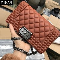 Wholesale diamond grit - Factory independent brand women bag summer new rhombus grit jelly bags candy color PVC fashion chain bag personalized rivets shoulder bag