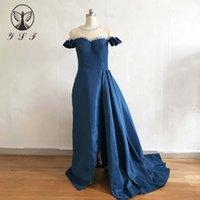 kristalle arabische kleider kleider großhandel-2019 Arabian Design Prom Dresses O Neck Perlen Kristalle Kurzarm Oberschenkel Etuikleid mit Überrock