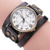 relojes antiguos pulsera pulsera al por mayor-Reloj de pulsera de cuero vintage Reloj de pulsera de mujer antiguo Reloj de pulsera casual para mujer