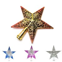 украшения из красной звезды оптовых-1 Pieces 20CM Sliver Red Golden Glitter Star Treetops of Christmas Tree Decoration Topper Ornaments Xmas Decorations