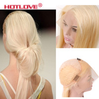 Wholesale 12 inches blonde lace wig for sale - Group buy Hotlove Hair Indian Straight Blonde x4 Lace Front Wigs Pre Plucked Wigs With Baby Hair Natural Hairline Inch