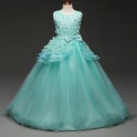 kinder blaues langes kleid 6t großhandel-Die neue 2018 schöne lange Prinzessin Kleid für Teen Mädchen Mädchen Kleider blaue Rose Spitze für Kinder Hochzeit Party Kleider für Mädchen