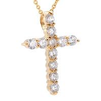 mädchen gold kreuz halskette großhandel-Kristall Mini Kreuz Halskette Edelstahl Denkmal Schmuck für Frauen Mädchen Kinder Männer