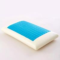 almohada de espuma de memoria de enfriamiento al por mayor-Memory Foam Cojín de almohada blanco Azul Refrigeración Comfort Vertebra cervical lavable de alta calidad