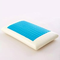 Wholesale Quality Memory Foam Pillows - Memory Foam White Pillow Cushion Blue Cooling Comfort Washable Cervical Vertebra Protect High Quality