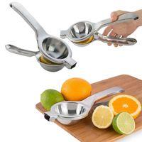 Wholesale hand juice squeezer - Kitchen Stainless Fruit Lemon Squeezer Orange Citrus Hand Press Squeezer Juicer Bar Tool Juice Maker FFA273 Other Kitchen Tools 50PCS