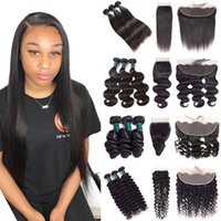 Wholesale 10A High Quality Brazilian Remy Human Hair Bundles With Closure or Lace Frontal Straight Body Loose Deep Water Wave Curly